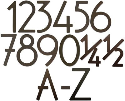 Dark Bronze 5 Inch House Numbers and Letters Product Image