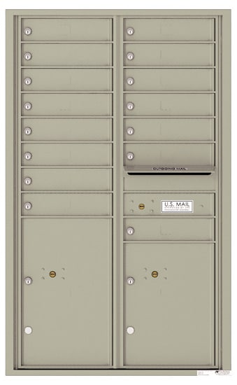 4C14D-15 Front Loading Private Use Commercial 4C Mailboxes – 15 Tenant Doors 2 Parcel Lockers Product Image