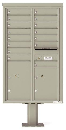4C14D-15-P Commercial 4C Pedestal 4C Mailboxes – 15 Tenant Doors 2 Parcel Lockers Product Image