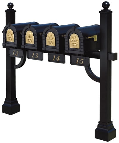 Gaines Keystone Mailboxes Quad Mount Post