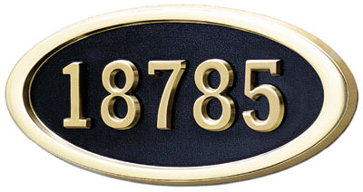 Gaines Large Oval Plaque Polished Brass