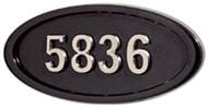 Gaines Large Oval Black Nickel Numbers