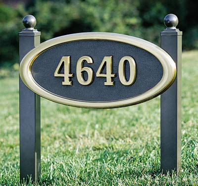 Large Oval Address Plaque with Lawn Plaque Kit Product Image