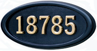 Gaines Large Oval Black Brass Numbers