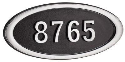 Gaines Large Oval Address Plaque with Satin Nickel Frame Product Image