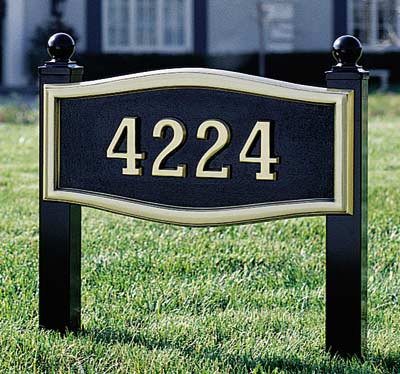 Large Roundtangle Address Plaque with Lawn Plaque Kit Product Image