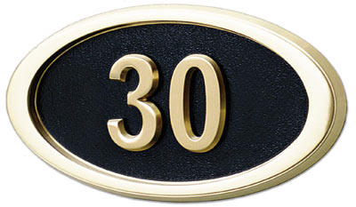 Gaines Small Oval Wall Address Plaque with Polished Brass Frame Product Image