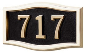 Gaines Small Roundtangle Wall Address Plaque with Polished Brass Frame Product Image