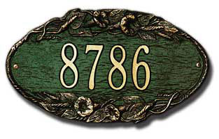 Whitehall Morning Glory Oval Address Plaque Product Image