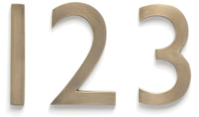 Laguna House Numbers Antique Brass Close Up