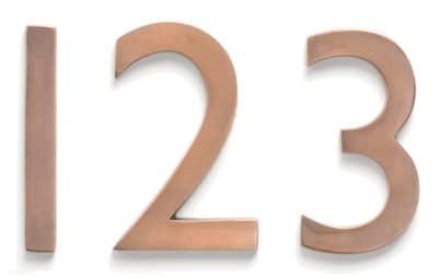 Laguna House Numbers Copper Close Up