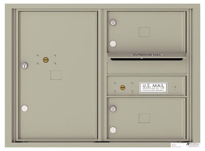 Recessed 4C Horizontal Mailbox – 2 Doors 1 Parcel Locker – Front Loading – 4C06D-02-CK25750 – Private Delivery Product Image