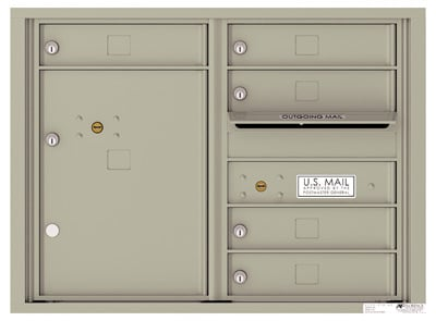 4C Surface Mount Horizontal Mailbox, 5 Doors, 1 Parcel Locker – 4C06D-05-4CSM06D – USPS Use Product Image
