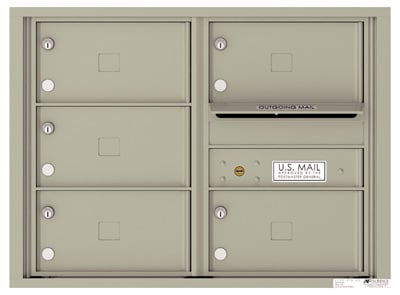 4C Surface Mount Horizontal Mailbox, 5 Doors, 0 Parcel Lockers – 4C06D-05X-4CSM06D – USPS Use Product Image