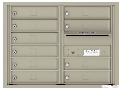 4C Surface Mount Horizontal Mailbox, 10 Doors, 0 Parcel Lockers – 4C06D-10-4CSM06D – USPS Use Product Image