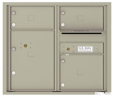 4C Surface Mount Horizontal Mailbox, 3 Doors, 1 Parcel Locker – 4C07D-03-4CSM07D – USPS Use Product Image
