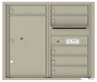 4C07D-06 Front Loading Commercial Surface Mount 4C Mailboxes – 6 Tenant Doors 1 Parcel Locker Product Image
