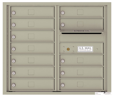 4C07D-12 Front Loading Commercial Surface Mount 4C Mailboxes – 12 Tenant Doors Product Image