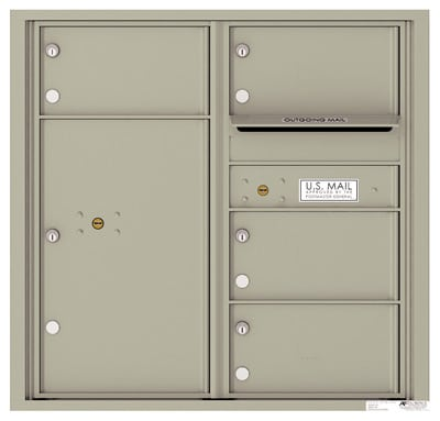 4C08D-04 Front Loading Commercial 4C Mailboxes – 4 Tenant Doors 1 Parcel Locker Product Image