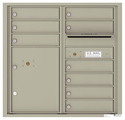 4C08D-09 Front Loading Private Use Commercial 4C Mailboxes – 9 Tenant Doors 1 Parcel Locker Product Image