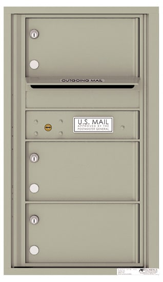 4C08S-03 Front Loading Commercial Surface Mount 4C Mailboxes – 3 Tenant Doors Product Image