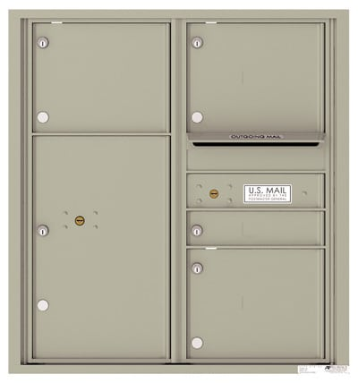 4C09D-04 Front Loading Commercial Surface Mount 4C Mailboxes – 4 Tenant Doors 1 Parcel Locker Product Image