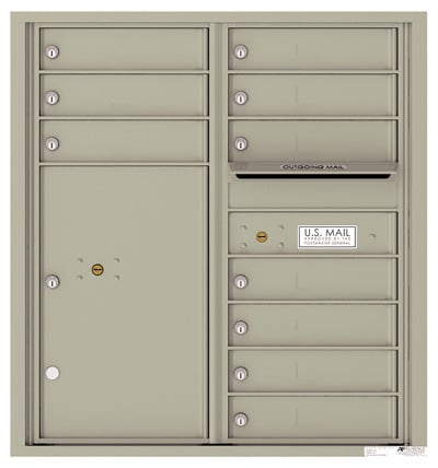 4C09D-10 Front Loading Commercial Surface Mount 4C Mailboxes – 10 Tenant Doors 1 Parcel Locker Product Image