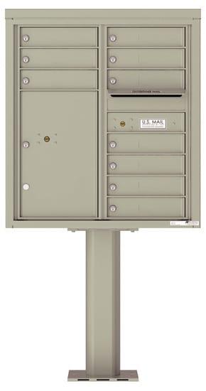 4C09D-10-P Commercial 4C Pedestal Mailboxes – 10 Tenant Doors 1 Parcel Locker Product Image