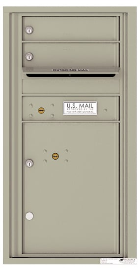 Recessed 4C Horizontal Mailbox – 2 Doors 1 Parcel Locker – Front Loading – 4C09S-02-CK25750 – Private Delivery Product Image