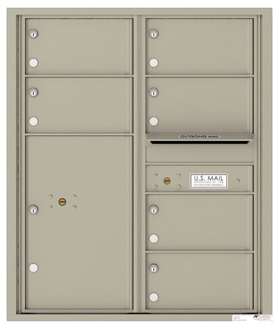 4C10D-06 Front Loading Commercial 4C Mailboxes – 6 Tenant Doors 1 Parcel Locker Product Image