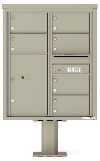 4C10D-06-P Commercial 4C Pedestal Mailboxes – 6 Tenant Doors 1 Parcel Locker Product Image