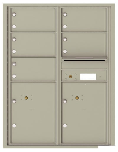 4C11D-05 Front Loading Commercial Surface Mount 4C Mailboxes – 5 Tenant Doors 2 Parcel Lockers Product Image