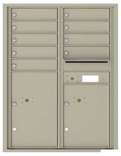 4C11D-09 Front Loading Commercial Surface Mount 4C Mailboxes – 9 Tenant Doors 2 Parcel Lockers Product Image