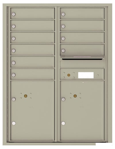 4C11D-10 Front Loading Commercial Surface Mount 4C Mailboxes – 10 Tenant Doors 2 Parcel Lockers Product Image