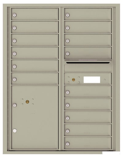 4C11D-15 Front Loading Commercial Surface Mount 4C Mailboxes – 15 Tenant Doors 1 Parcel Locker Product Image