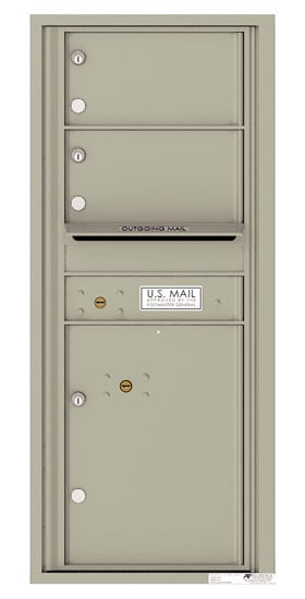 Recessed 4C Horizontal Mailbox – 2 Doors 1 Parcel Locker – Front Loading – 4C11S-02 – USPS Approved Product Image