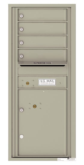 4C11S-04 Front Loading Commercial Surface Mount 4C Mailboxes – 4 Tenant Doors 1 Parcel Locker Product Image