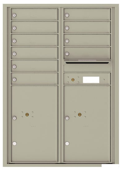 4C12D-10 Front Loading Commercial Surface Mount 4C Mailboxes – 10 Tenant Doors 2 Parcel Lockers Product Image