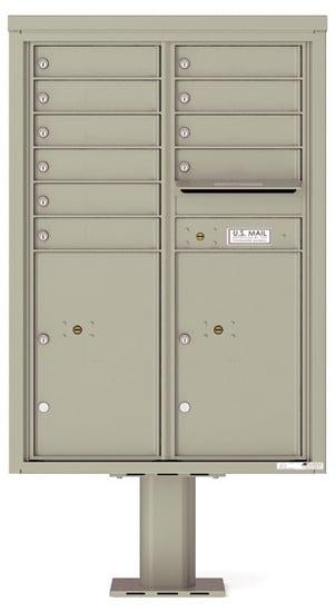 4C12D-10-P Commercial 4C Pedestal Mailboxes – 10 Tenant Doors 2 Parcel Lockers Product Image