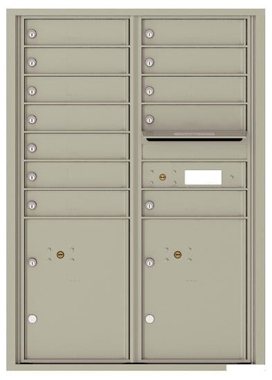 4C12D-12 Front Loading Commercial Surface Mount 4C Mailboxes – 12 Tenant Doors 2 Parcel Lockers Product Image