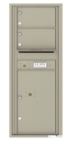 Surface Mount 4C Horizontal Mailbox – 2 Doors 1 Parcel Locker – Front Loading – 4C12S-02-4CSM12S – USPS Approved Product Image