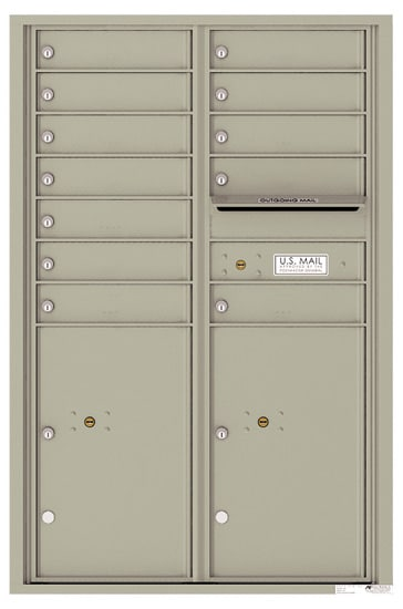4C13D-12 Front Loading Commercial Surface Mount 4C Mailboxes – 12 Tenant Doors 2 Parcel Lockers Product Image