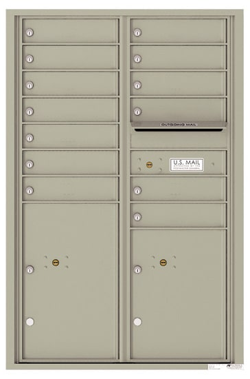 4C13D-13 Front Loading Commercial Surface Mount 4C Mailboxes – 13 Tenant Doors 2 Parcel Lockers Product Image