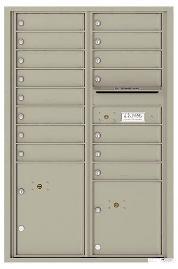 4C13D-15 Front Loading Commercial Surface Mount 4C Mailboxes – 15 Tenant Doors 2 Parcel Lockers Product Image