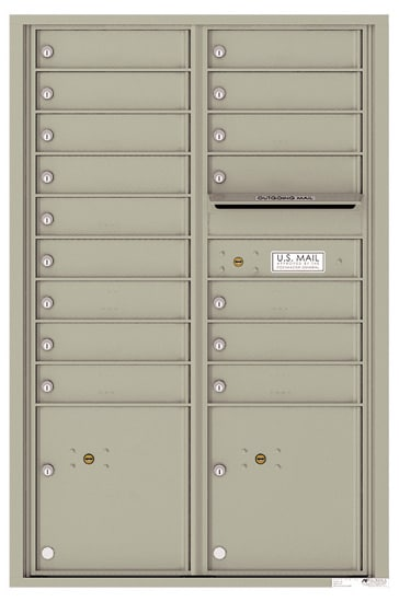 4C13D-16 Front Loading Commercial Surface Mount 4C Mailboxes – 16 Tenant Doors 2 Parcel Lockers Product Image