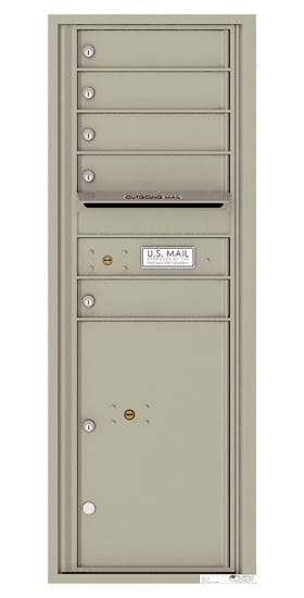 Recessed 4C Horizontal Mailbox – 5 Doors 1 Parcel Locker – Front Loading – 4C13S-05-CK25750 – Private Delivery Product Image