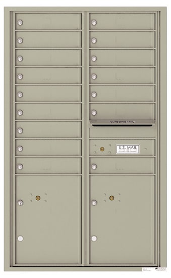 4C14D-16 Front Loading Commercial Surface Mount 4C Mailboxes – 16 Tenant Doors 2 Parcel Lockers Product Image