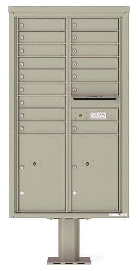 4C15D-16-P Commercial 4C Pedestal Mailboxes – 16 Tenant Doors 2 Parcel Lockers Product Image