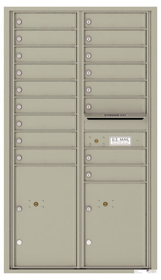 Recessed 4C Horizontal Mailbox – 17 Doors 2 Parcel Lockers – Front Loading – 4C15D-17 – USPS Approved Product Image