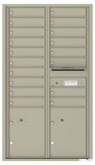 Recessed 4C Horizontal Mailbox – 18 Doors 2 Parcel Lockers – Front Loading – 4C15D-18 – USPS Approved Product Image